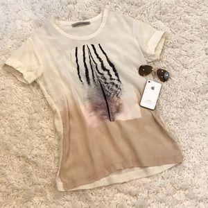 All Saints 100% Silk Graphic Zebra Shirt